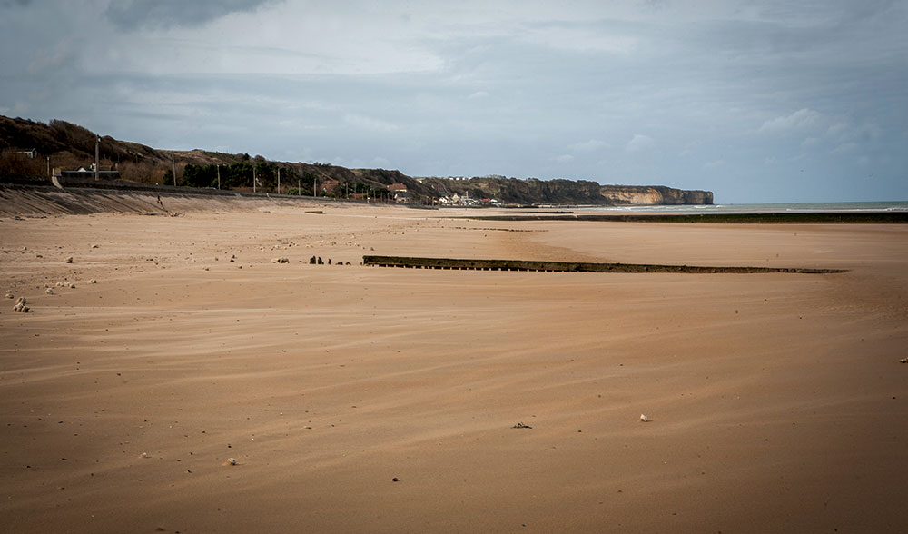Omaha Beach Overlooked By Limestone Cliffs In February 2017 Photo Leon Harris